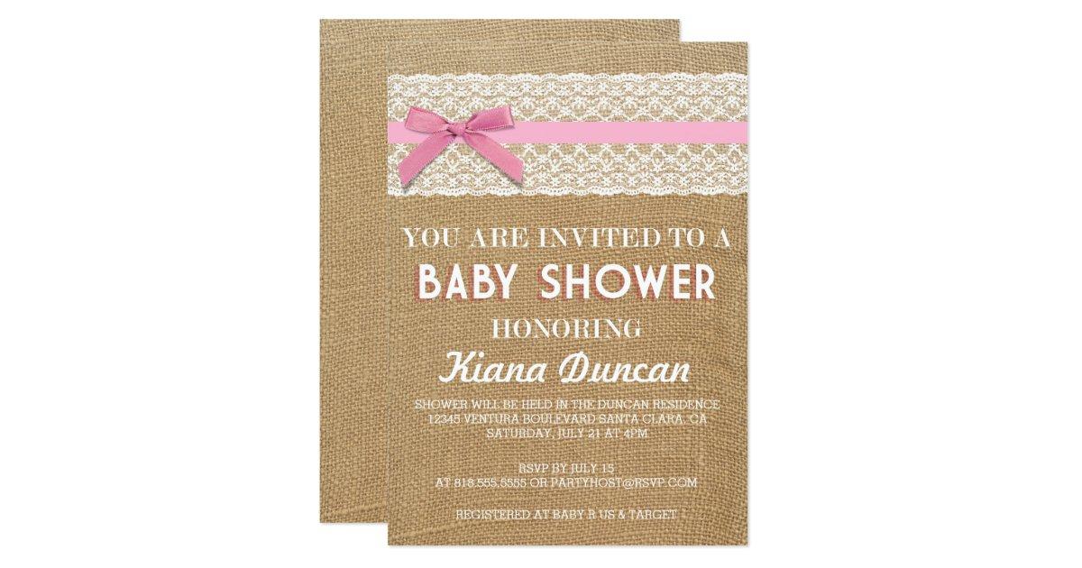 pink bow lace burlap baby shower invitation zazzle