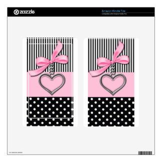 Pink Bow Monogram Cover Kindle Fire Decals