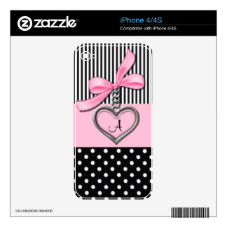 Pink Bow Monogram Cover Skin For iPhone 4