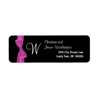 Pink Bow Monogram Wedding Black Background Label