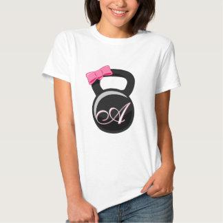 """Pink Bow Monogrammed Kettlebell """"A"""" T Shirt"""