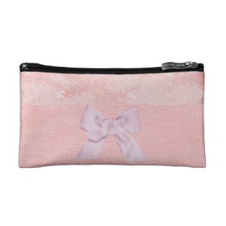 Pink Bow on Border Makeup Bag