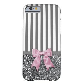 Pink Bow on Grey Sparkle Stripes Barely There iPhone 6 Case