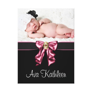 Pink Bow Pink Black Baby Girl Canvas Portrait Canvas Print