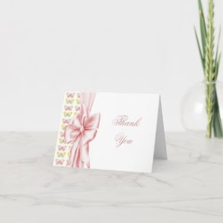Pink Butterflys thank you cards