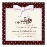 "Pink Bow Polka Dot Girl Baby Shower Invitation 5.25"" Square Invitation Card"