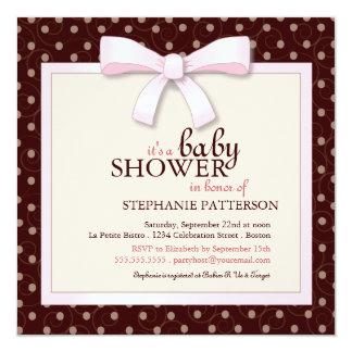 Pink Bow Polka Dot Girl Baby Shower Invitation
