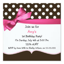 pink bow polka dots first birthday party card