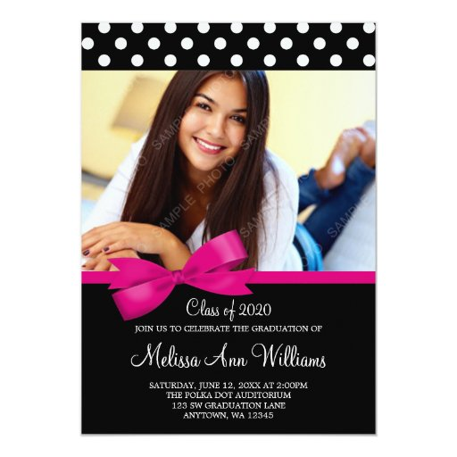 Pink Bow Polka Dots Photo Graduation Announcement