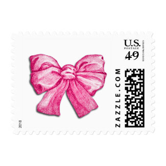 Pink Bow Postage Stamp