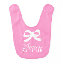 Pink bow princess baby bib for cute little girl