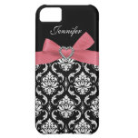 Pink Bow Print with Damask iPhone Case iPhone 5C Cover