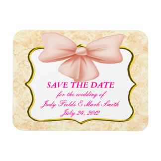 Pink Bow Save The Date Magnet
