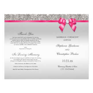 Pink Bow Silver Sequins Wedding Ceremony Program Flyer