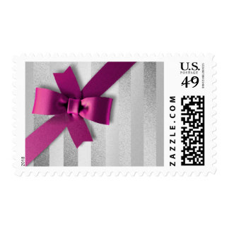 Pink Bow Silver  Stripe Postage Stamp