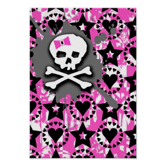 Pink Bow Skull Poster