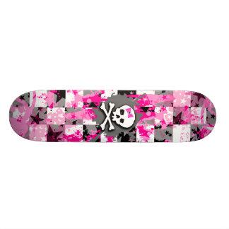 Pink Bow Skull Skate Deck