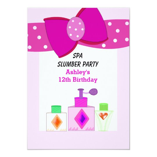 Pink Bow Spa Slumber Party Card