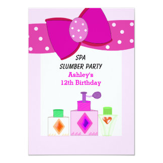 Pink Bow Spa Slumber Party 4.5x6.25 Paper Invitation Card