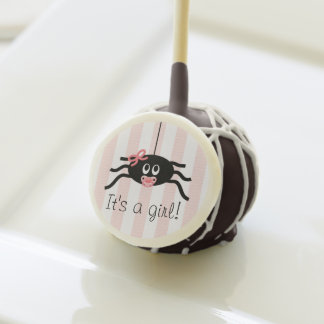 PINK BOW SPIDER BABY SHOWER CAKE POPS