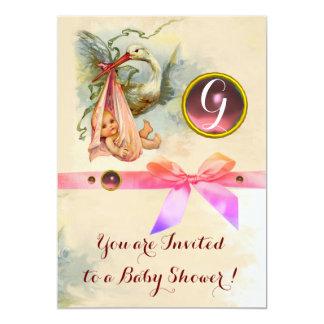 PINK BOW STORK GIRL BABY SHOWER GEMSTONE MONOGRAM CARD