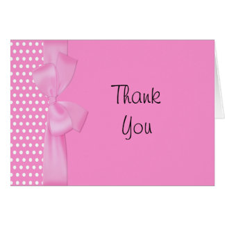 Pink Bow  Thank You Note Card