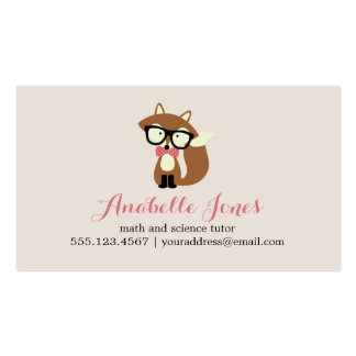 Pink Bow Tie and Glasses Hipster Brown Fox Double-Sided Standard Business Cards (Pack Of 100)
