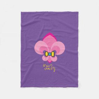 Pink Bow-Tied Fleur De Lis Fleece Blanket