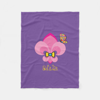 Pink Bow-Tied Fleur De Lis with a butterfly Fleece Blanket