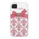 Pink Bow White Damask & Print Jewels iPhone Case Vibe iPhone 4 Cover