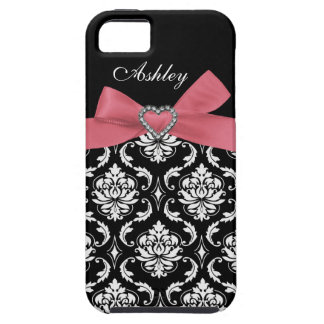 Pink Bow with Damask and First Name iPhone Case iPhone 5 Cases