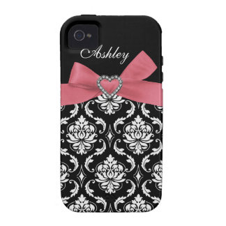 Pink Bow with Damask and First Name iPhone Case Vibe iPhone 4 Covers