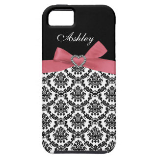 Pink Bow with Damask and First Name iPhone Case iPhone 5 Cover