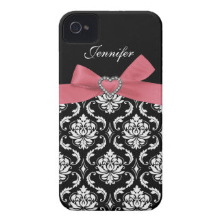 Pink Bow with Damask iPhone Case iPhone 4 Cases