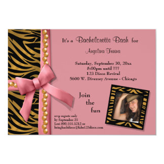 Pink Bow With Gold Pearls And Zebra Stripes 5x7 Paper Invitation Card