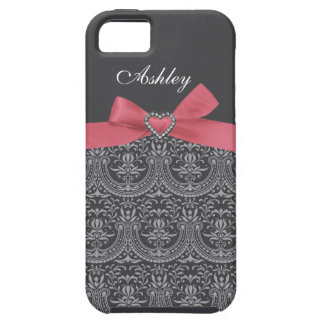Pink Bow with Grey Damask & First Name iPhone Case iPhone 5 Covers