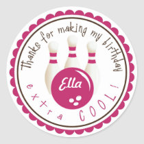 Pink Bowling Birthday Party Favor Stickers