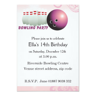 "Pink Bowling Birthday Party Invitation 5"" X 7"" Invitation Card"