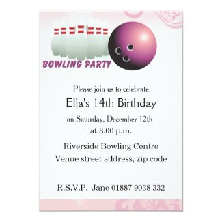 Pink Bowling Birthday Party Invitation