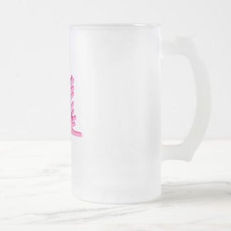 Pink Bowling logo 16 Oz Frosted Glass Beer Mug