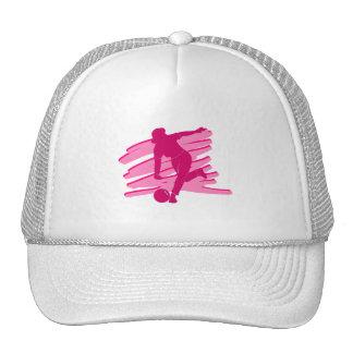 Pink Bowling logo Trucker Hats