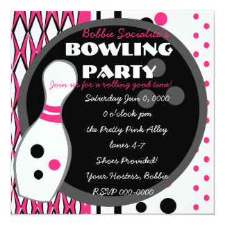 Pink Bowling Party Card