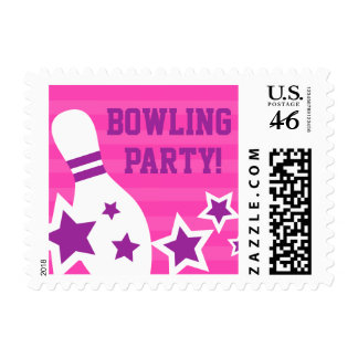 Pink bowling party stamp with pin and purple stars