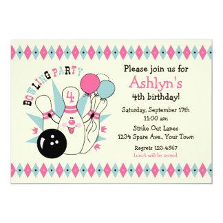 Pink Bowling Pin Birthday Card