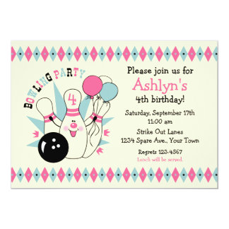 Pink Bowling Pin Birthday Custom Announcements