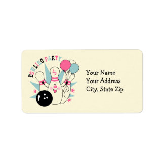 Pink Bowling Pin Birthday Label