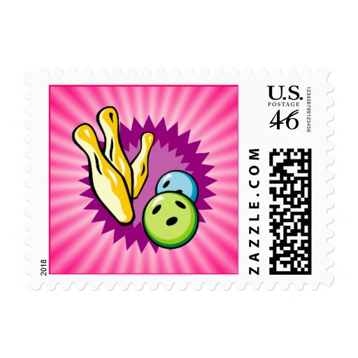 Pink Bowling Postage Stamps