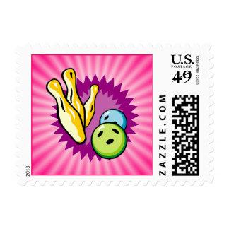 Pink Bowling Postage Stamp