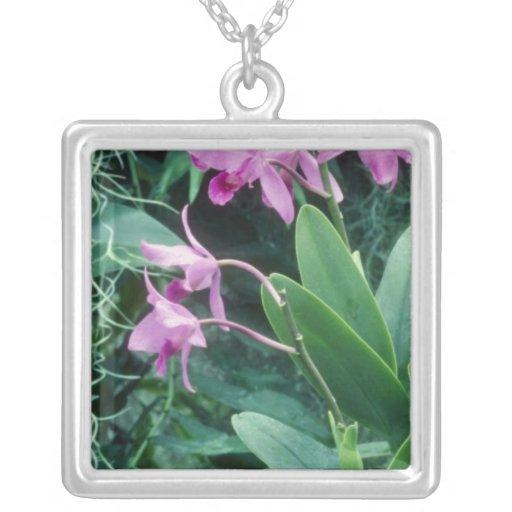 Pink Bowringiana (Cattleya) flowers Square Pendant Necklace