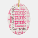 Pink Bows Breast Cancer Death Memorial Double-Sided Oval Ceramic Christmas Ornament